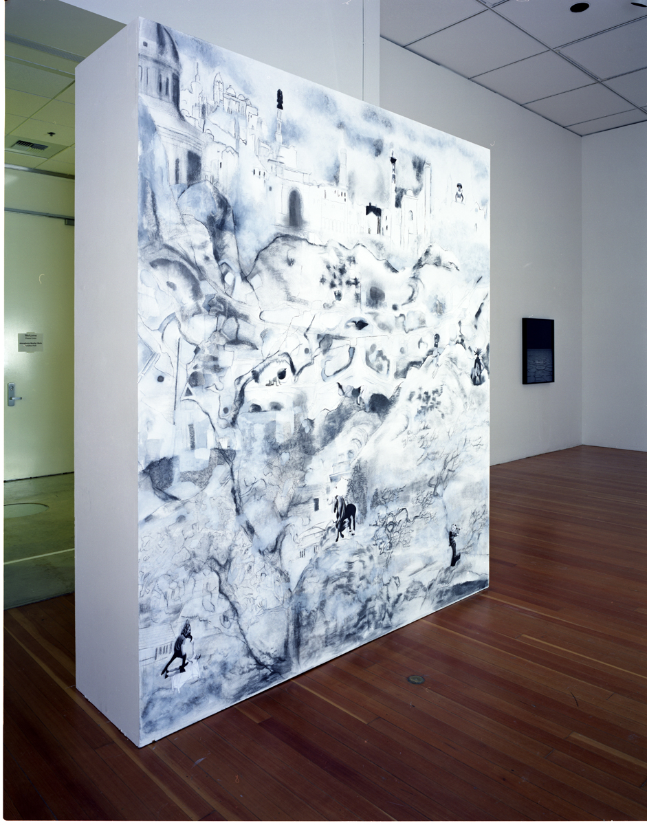 Impossible Landscape for the Orientalist, 2007, University Gallery, UC-Irvine, charcoal, collage, gesso, graphite on gallery wall